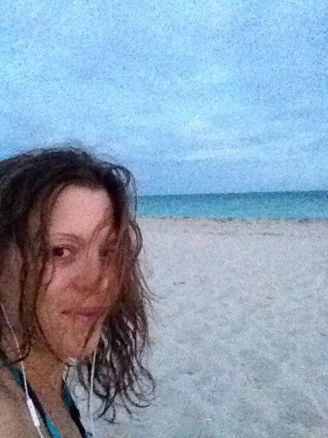 Dancing on the beach at sunset.  My wild so happy to be playing in the world