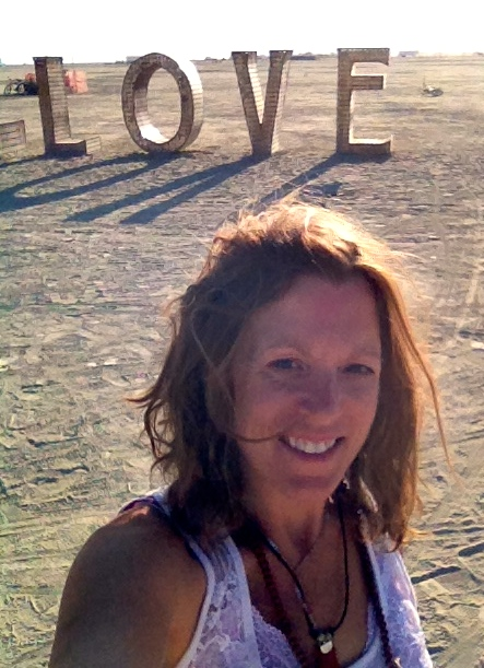 At Burning Man, doing my morning dance in front of LOVE