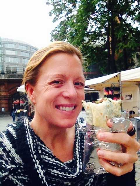 It's Berlin, not Costa Rica. I stepped out of my hotel, starving and not in the mood to sit at a restaurant or find a place to eat...I round the corner and a farmer's market is in full swing.  Me, delightfully eating my Turkish Gozleme that I asked them to add some lamb and peppers to. Coulnd not have imagined this!