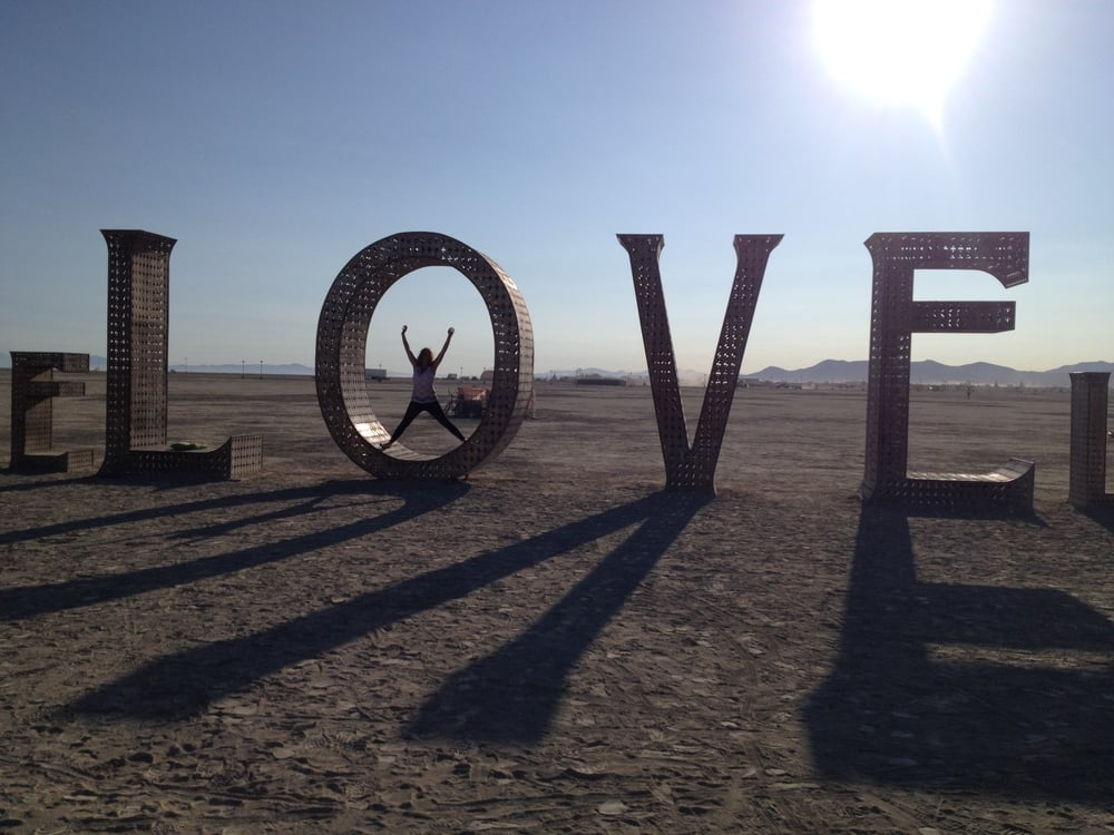 Spreading the LOVE at Burning Man 2014.