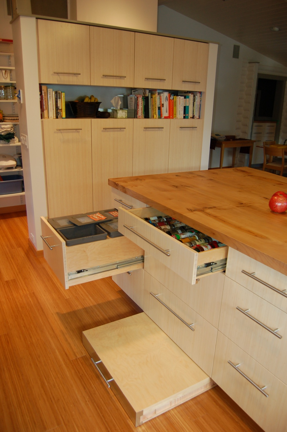 Island Cabinet with pull-out Stand for bread kneading