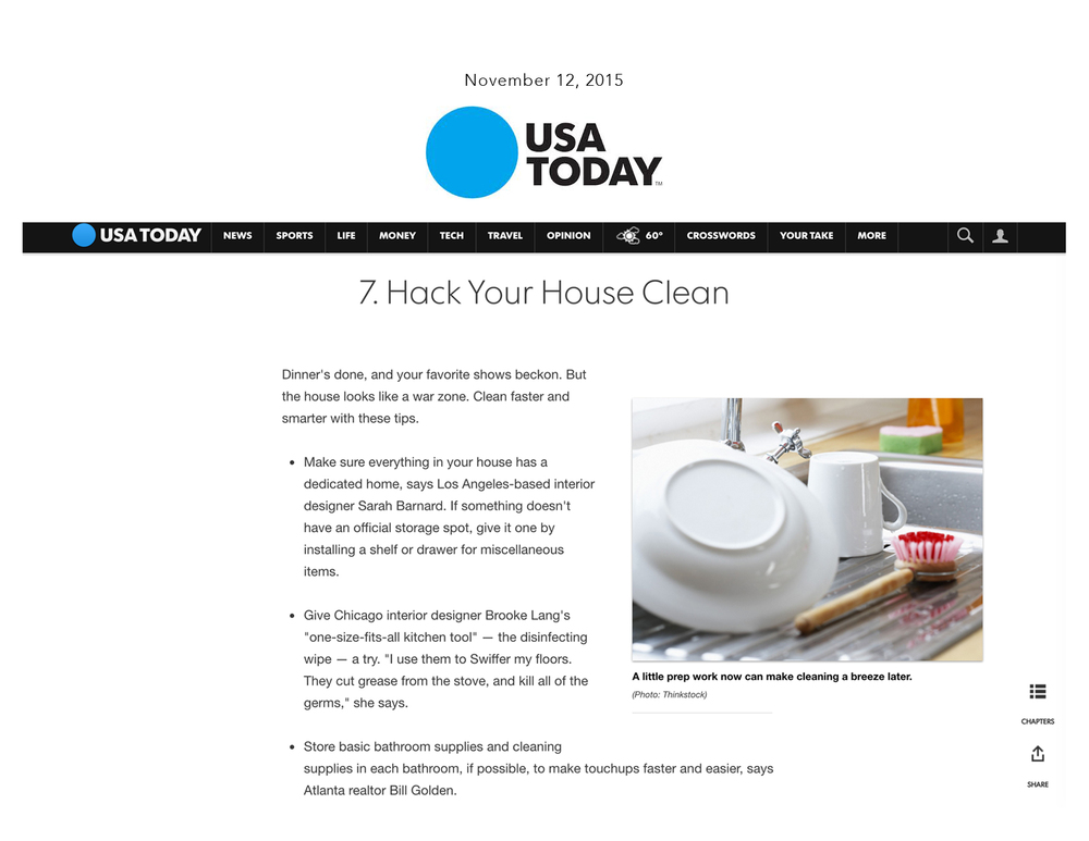 USA Today: House Hacks for a Clean Home