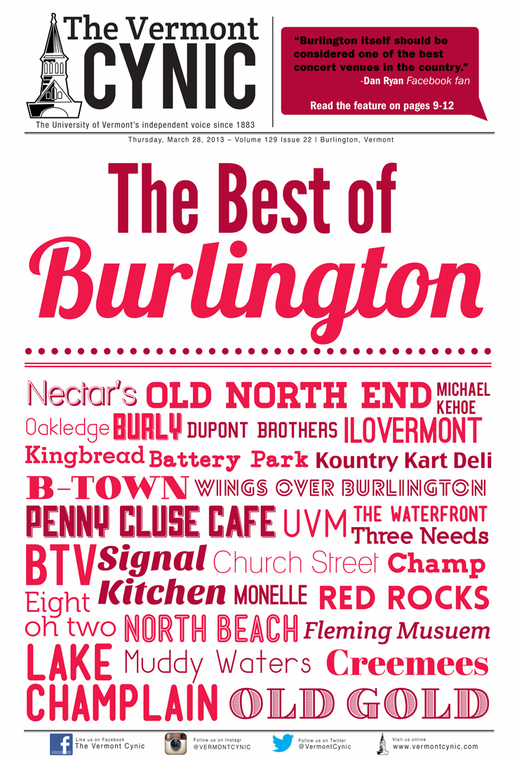 Natalie co-designed the 2012 cover for The Best of Burlington special issue for  The Vermont Cynic  with  Aviva Loeb .