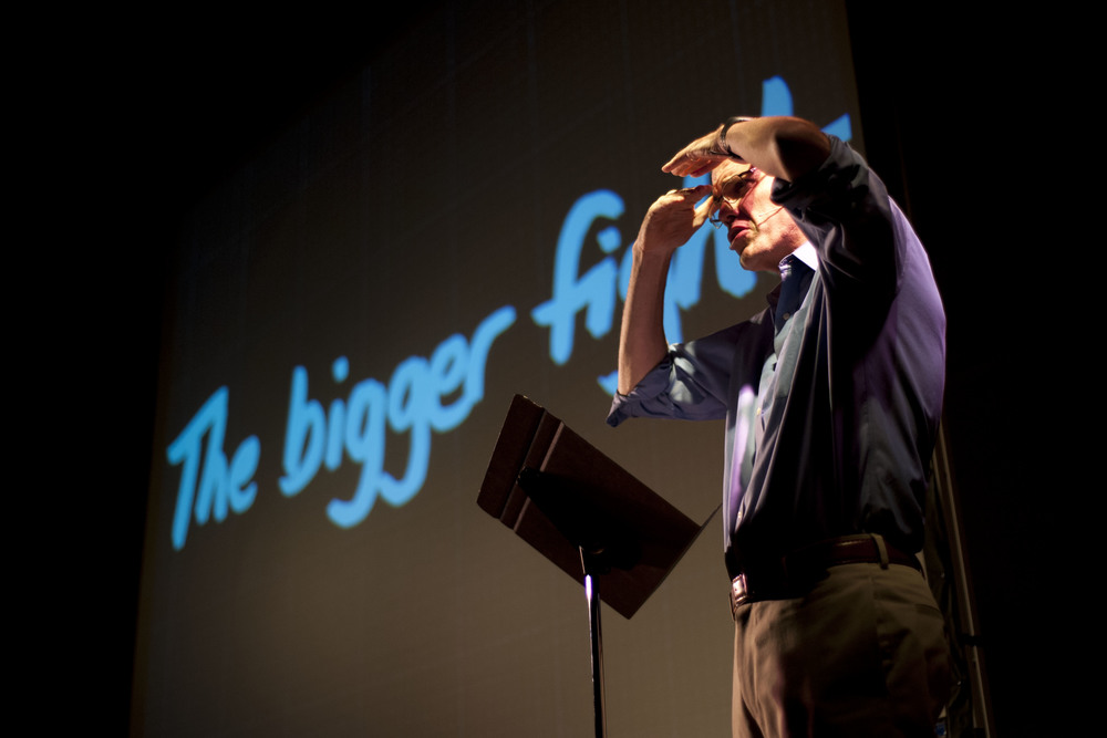 Author and activist Bill McKibben speaks to students and attendees about climate change in the Ira Allen Chapel, Oct. 13, 2012. The Student Climate Culture Club helped organize the event to raise awareness about university divestment from fossil fuel companies.