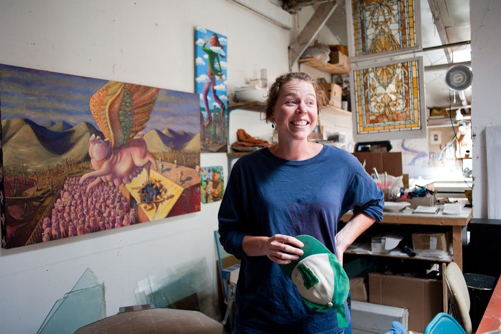 Artist Tara Goreau in her studio on Pine Street