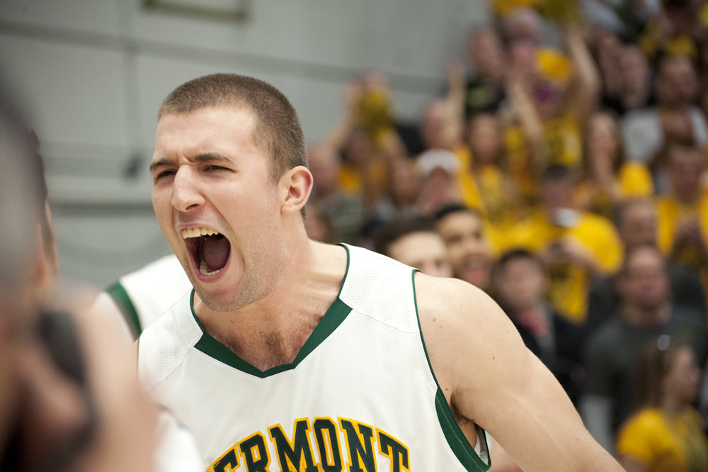 Junior forward Brian Voelkel pumps up his teammates before the America East championship game at Patrick Gym, March 16, 2013. The UVM Catamounts lost 49-53 to Albany in the final game.