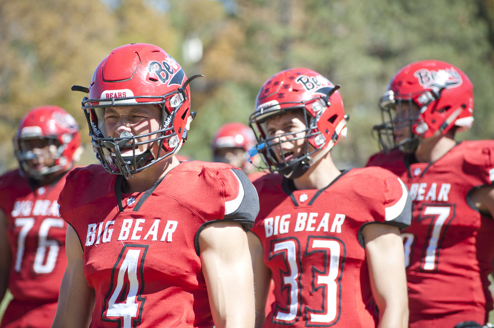 The Bears pump themselves up before a home game Oct. 8, 2016. The Big Bear High School football team has a pre-game ritual they practice before every match-up.