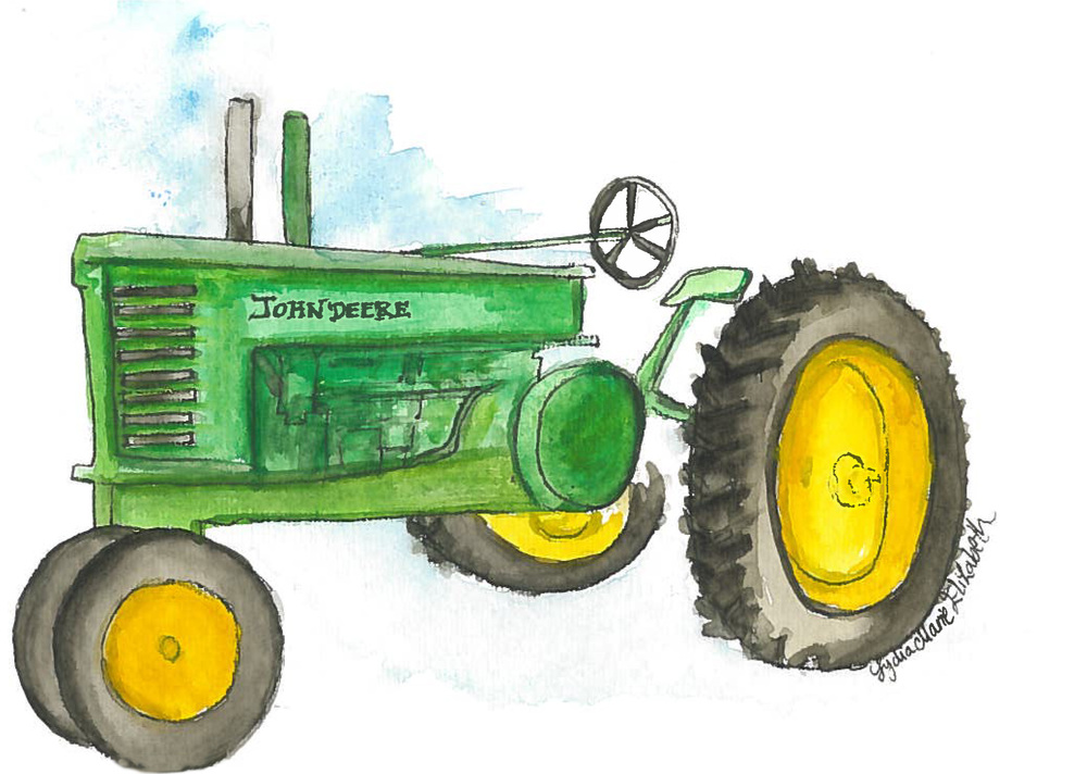 Lydia Marie Elizabeth watercolor nursury tractor Big Green Tractor .jpg