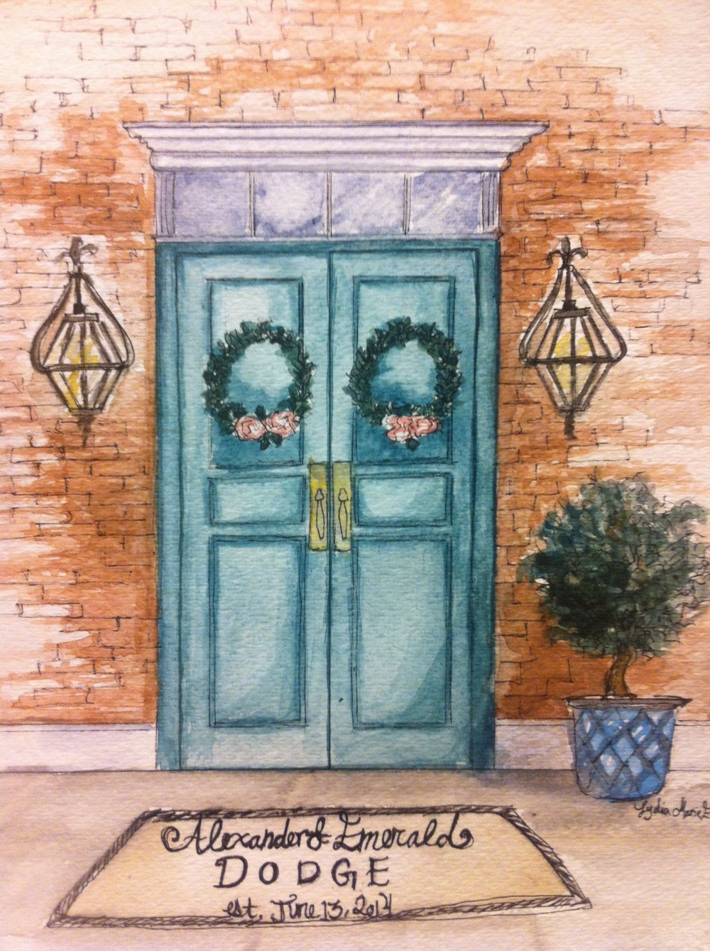 Lydia Marie Elizabeth Front Door architecture and interior design watercolor paintings stantionery and illustration