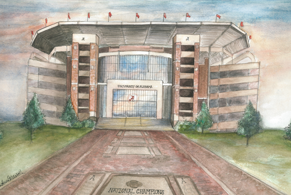 Lydia Marie Elizabeth Bryant Denny Stadium watercolor.jpg