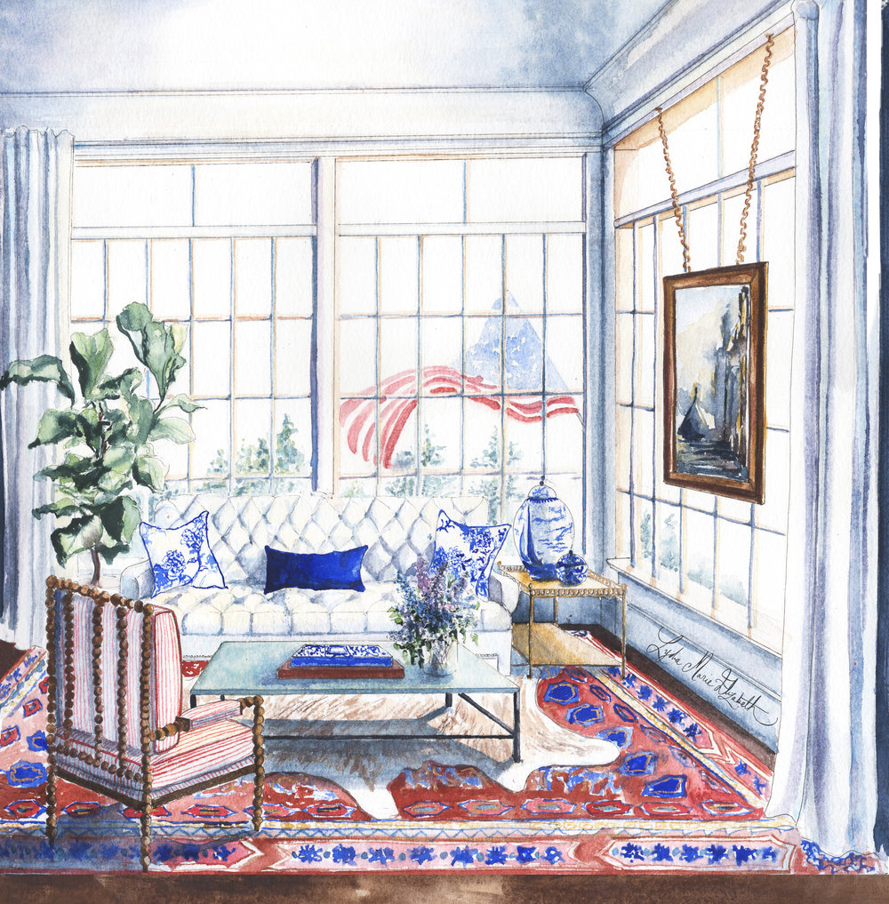 Lydia Marie Elizabeth, Mooring Point House Interior Portrait, 12x12, watercolor on paper..jpg