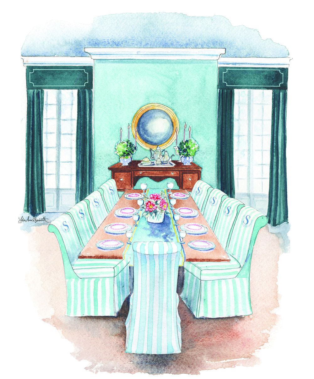 Lydia Marie Elizabeth Thanksgiving Dinner Interior Portrait for the November illustration 2017 Interior adn Architectural Calendar.jpg
