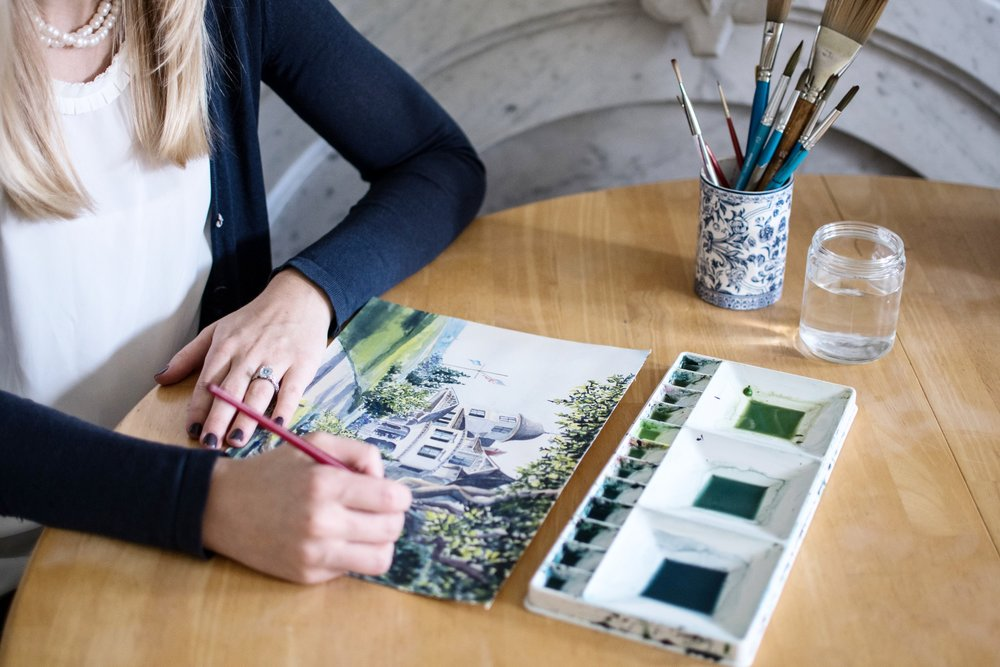 Lydia Marie Elizabeth Interior and Arrchitectural illustrator and fine artist painting the Castle Hill inn in Newport.jpg