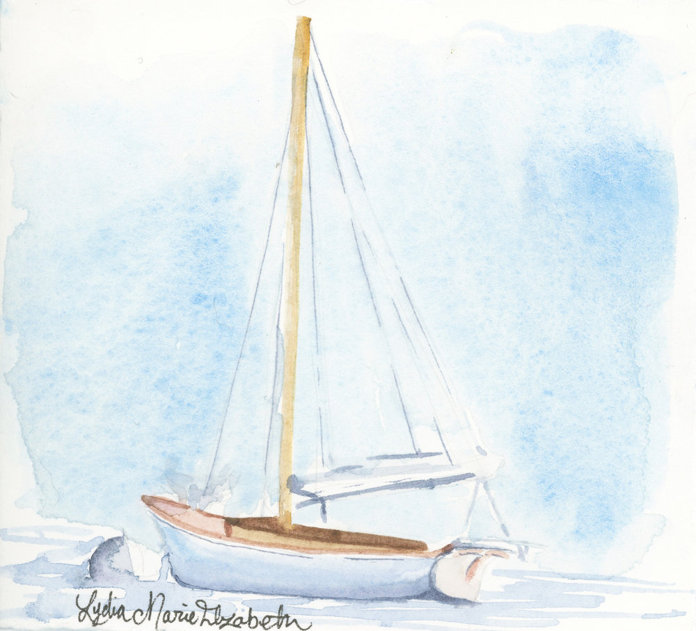 Lydia Marie Elizabeth LME365 July Collection Sail Boat in watercolor