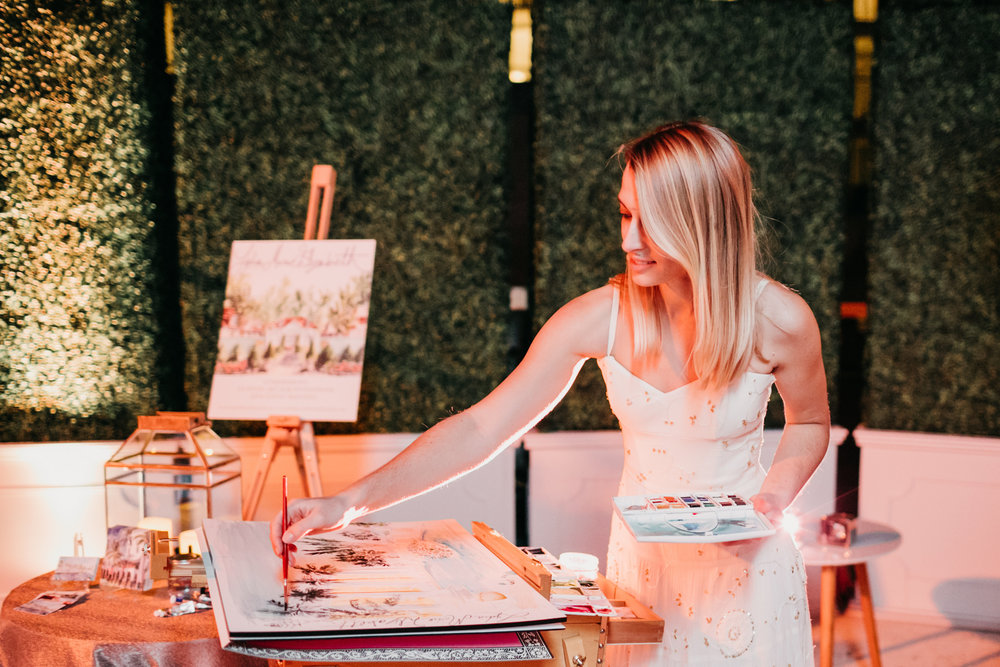Lydia Marie Elizabeth Live Painting in Watercolor at the Four Seasons Resort in Palm Beach
