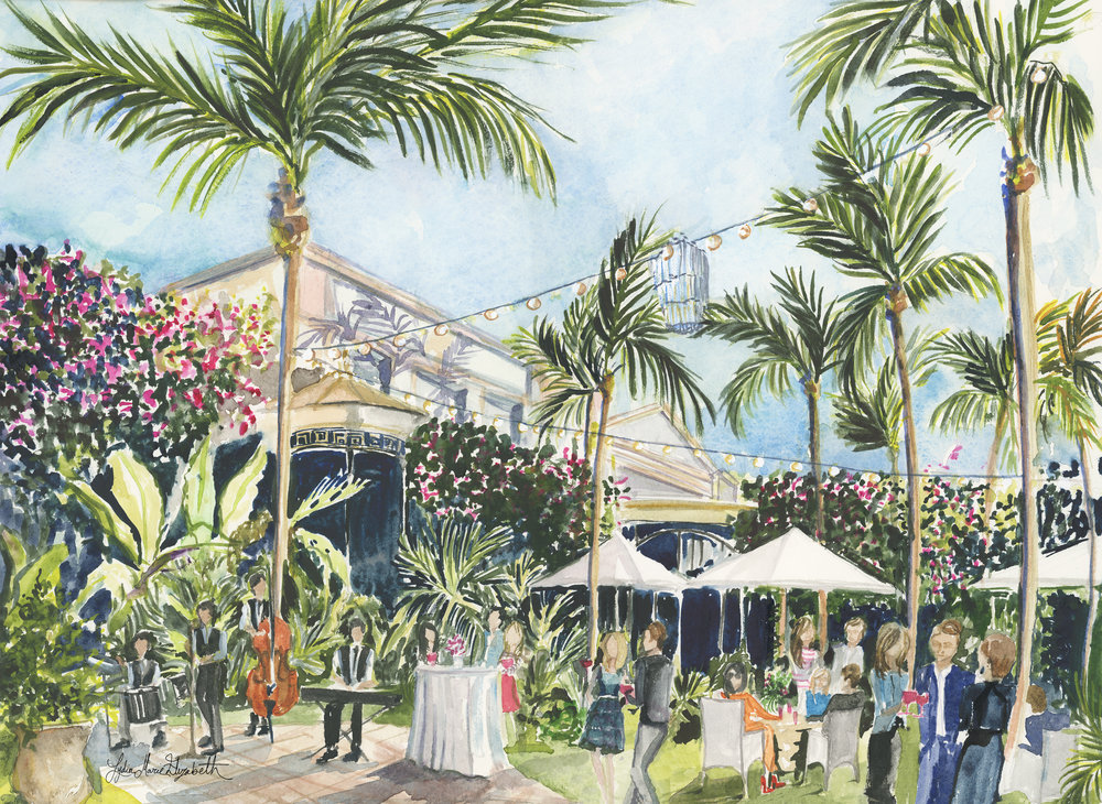Lydia Marie Elizabeth Schrader live watercolor portrait for the Palm Beach Civic Association's 75th Anniversary at the Royal Poinciana Plaza in Palm Beach