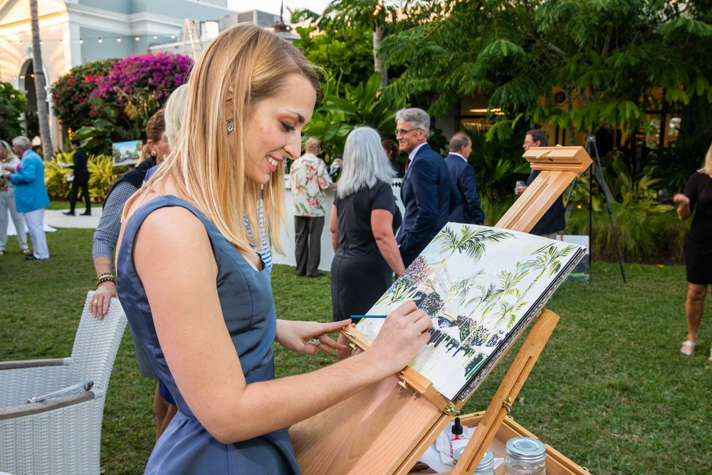 The 75th Anniversary of the Palm Beach Civic Association at the Royal Ponciana in Palm Beach Florida November 26, 2018 with Live Painting by Lydia Marie Elizabeth in watercolor and pencil.jpg