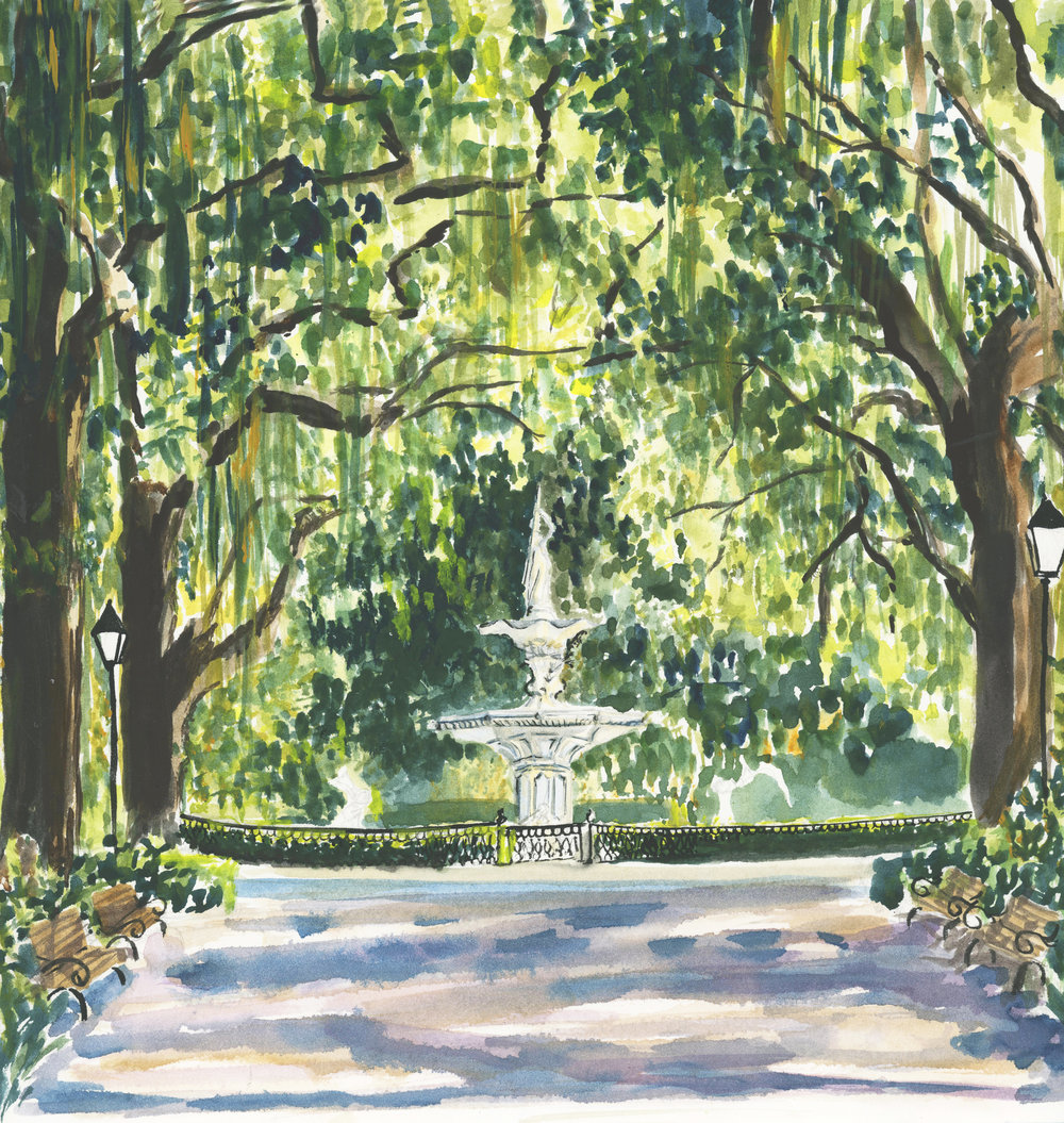 Lydia Marie Elizabeth watercolor of Forsyth Fountain in Savannah Geogria for the 2019 American Road Trip Architectural and interior desk calendar
