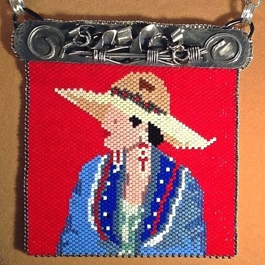 "- Close-up of the intricate and beautiful bead artistry: ""Vaquero Espanola"""