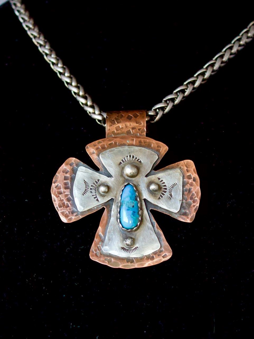 "- ""Good Faith Everyday"" Nevada turquoise sent in 100% copper and sterling silver pendant garnered responses from Tammie Pollock: Perfect Paula Miller Pottsa: Another GORGEOUS piece of work. Candy McHone Rowe: So much awesomeness! A treasure! You did goooood! Beautiful! Kathy Farris: Your work is beautiful!"