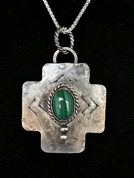 "- ""Our Mission Faith"" This sterling silver pendant features a Malachite stone which is known for its powerful properties that promote healing transformations as noted at https://www.energymuse.com/malachite-meaning.This piece was acquired quickly, but Joy L Schmidgall Hagerty got in her comment: Beautiful piece!"