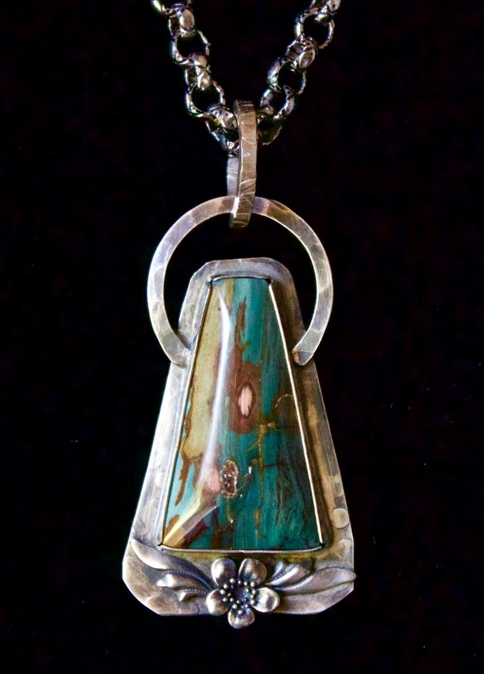 """Once In A Lullaby"" Pendant.  Gary Green Jasper!  Found in eastern Oregon, iron, aluminum, potassium, sodium and calcium – along with petrified wood, cane, cattails and swamp creatures – combine to create stones that range in color from teal to lime green. Read more about this jasper at  http://dirtyoldrockhound.blogspot.com/2013/09/gary-green-jasper-aka-larsonite-green.htm  The beautiful colors, patterns and layers in this particular Gary Green Jasper elicits comments from Becky Gann :    This one is Truly Exceptional...The WOW FACTOR  😲😲😎😍😍🤩🤩  Rick Munger:   Beautiful piece wow   Virginia B. Smith:   Awesome !!   Jessie Heinrichs:   Another WOW   Peggy Simpson:   Breathtaking   Sue Few:   Just splendid!"