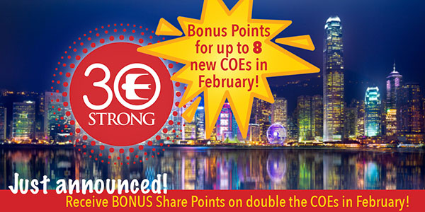Don't miss out on this incredible opportunity to earn BONUS Share Points in February! It could mean the difference in winning this contest!