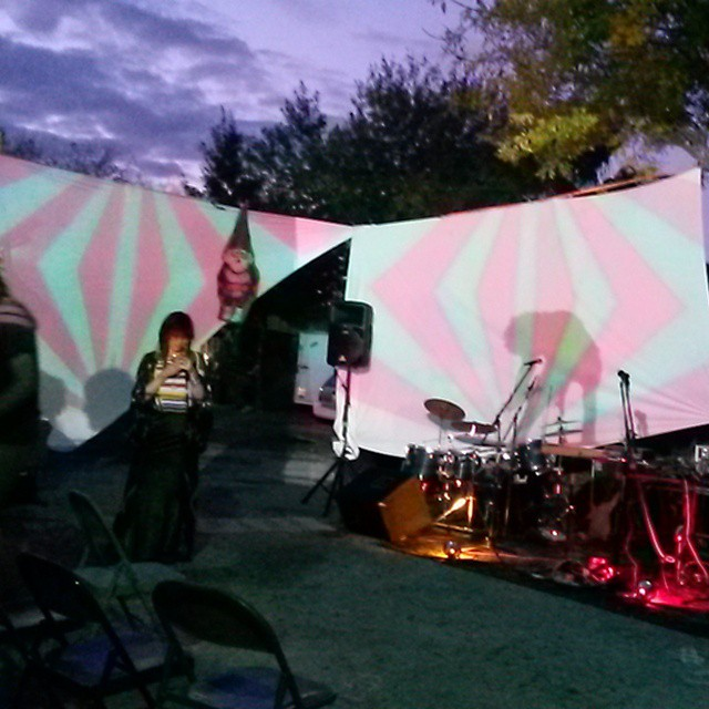 lighting test for first of two omingnome shows in san antonio. find us at gallista gallery for second saturday festival! in 45 minutes and then later we will be getting gnomeish at the ten eleven with #oblios #awols #bermudatriangle #mtsherpa come learn of the gnomes. #omingnome #planetaryprojections #psychedelic #caterpillartour
