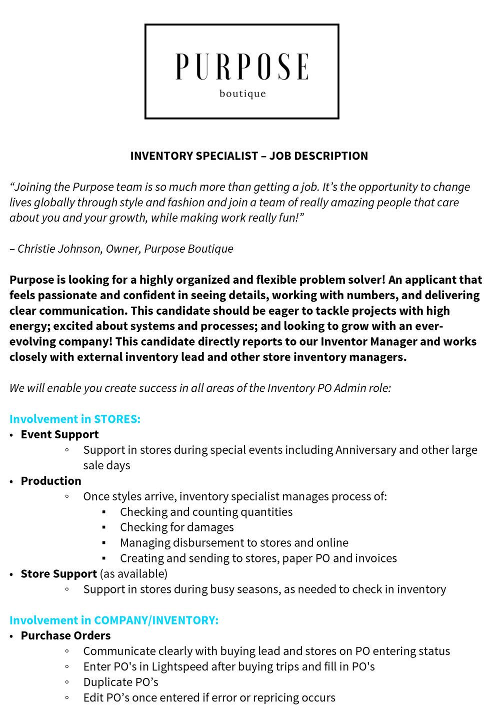 application inventory specialist purpose boutique