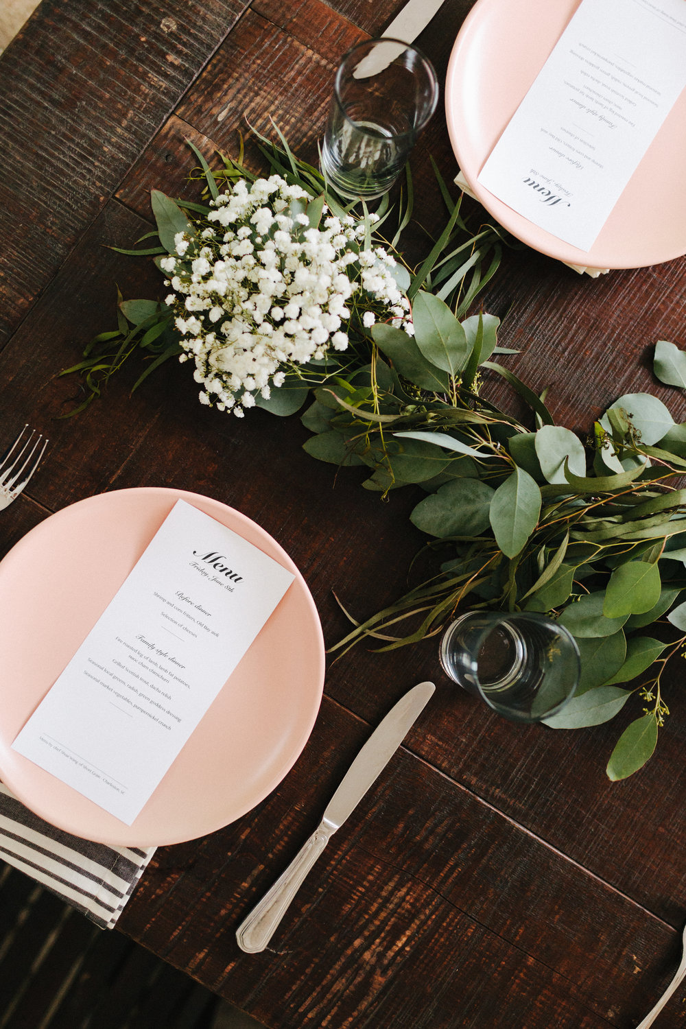 table setting, Cassie and Brett, Legare Warring House