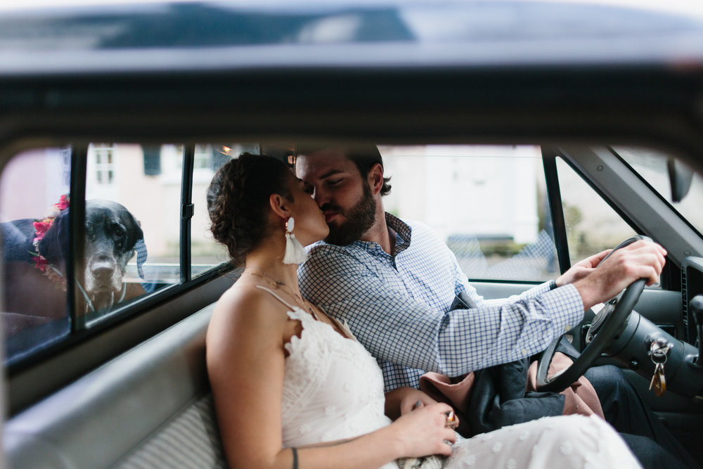 Julia and Dylan after the ceremony. Downtown Charleston elopement