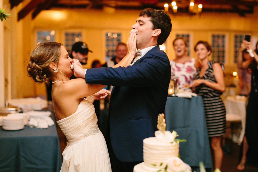 Nicole and Jeremy, cake in the face at their Alhambra Hall wedding