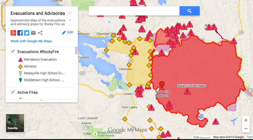 More Homes Destroyed In Rocky Fire Updated Map Pajers