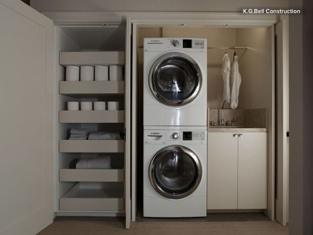 The Pivot Sliding Doors And Storage Drawers Make This Closet A  Superfunctional Laundry Room.