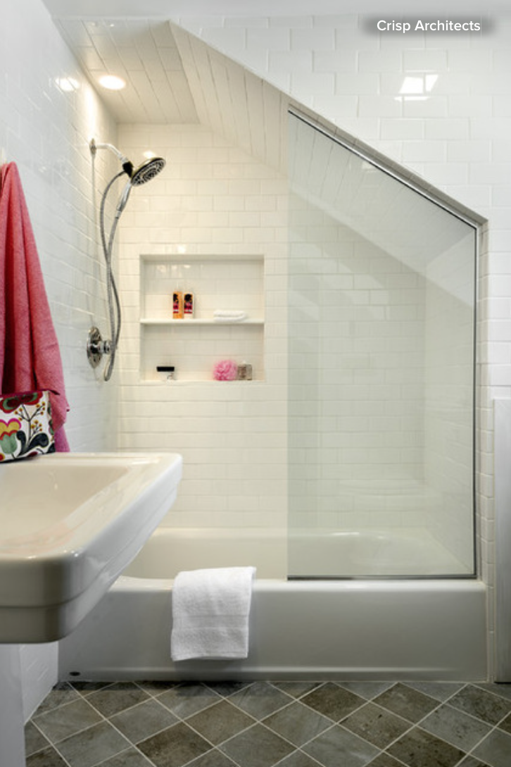 Bathroom ideas shower curtain or shower doors bergdahl for Small bathroom with sloped ceiling