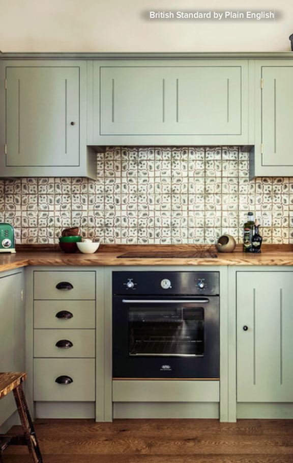 Hand Painted Tile In This Traditional London Home The Lively Pattern In The Tile Picks Up On The Cabinet Color And The Colors In The Wood The Backsplash