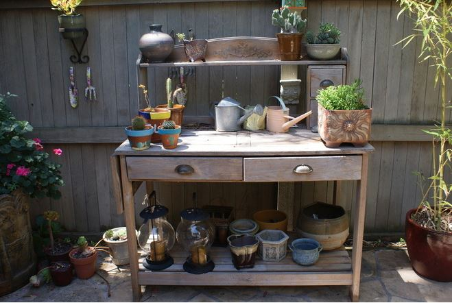 Whether You Invest In A New Potting Table, Pick Up A Secondhand One Or Give  An Old Piece A New Lease On Life Outdoors, A Table With Shelves And ...