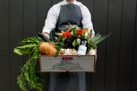 Matthews Winery and Farm CSA boxes come loaded with fresh produce, wine, artisan bread, cheese, eggs, and more. Photo courtesy Matthews Winery and Farm.