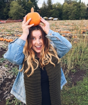 Writer Sophia Sonovich researching all things pumpkin patches.