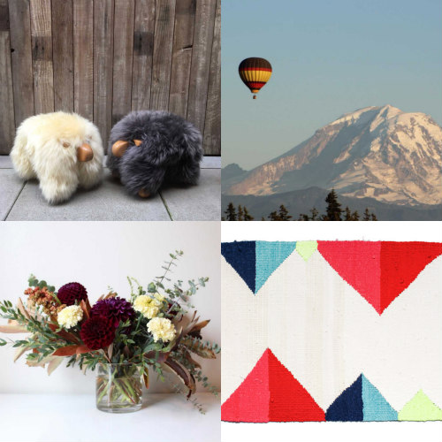 Clockwise from top left: SheePals courtesy of Bergström Studios, Seattle Ballooning, Lenna Peterson rug (photo by Brandon Herrell) and The Stemmery (photo by Sarah Abare).