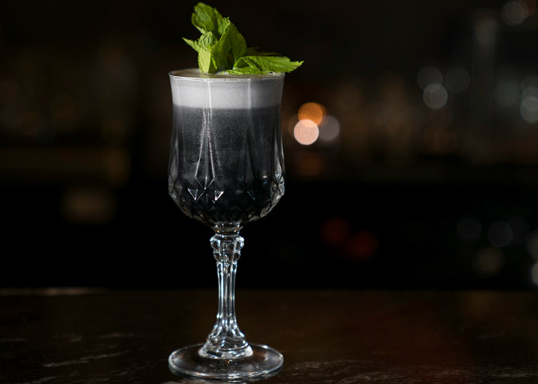 Image Credit: Chustine Minoda The deceptive Black & White cocktail at Alchemy.