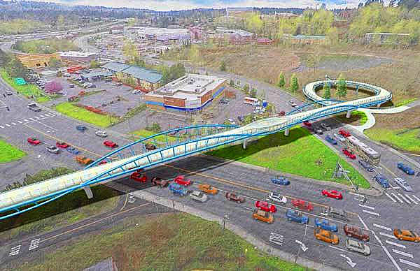 An artistic rendering of what the Totem Lake Connector Bridge could look like. Courtesy of the City of Kirkland