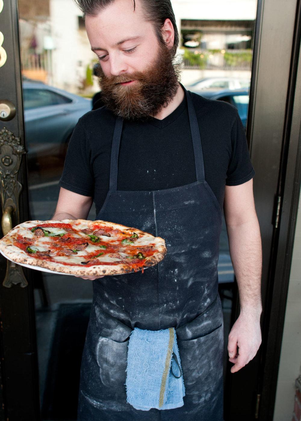Former Bruciato pizzaiolo Brandon Thompson, a man perennially covered in flour.  IMAGE: SARA MARIE D'EUGENIO