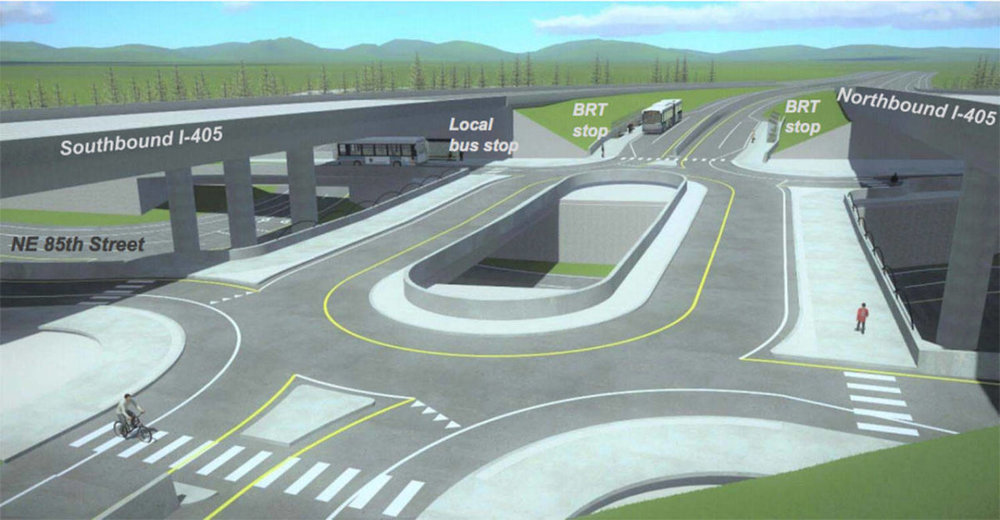 A three-level interchange on Interstate 405 at Northeast 85th Street in Kirkland would separate cars from buses, cyclists and pedestrians. Image courtesy of WSDOT