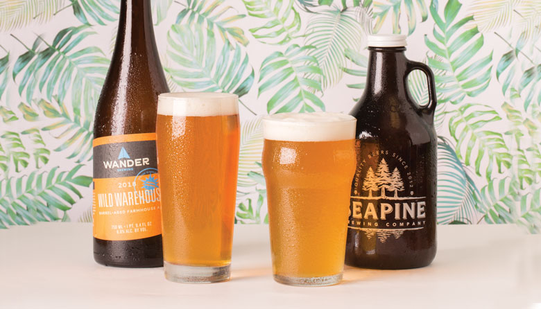 Image Credit:Alex Crook  Wild Warehouse Farmhouse Ale by Wander Brewing (left) won in the Best Saison category and Mosaic Pale Ale by Seapine Brewing (right) won in the Best Pale Ale category.