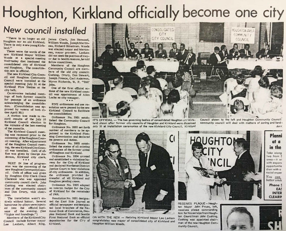 A newspaper article from 1968 describes the merger between the cities of Kirkland and Houghton. A celebration on July 12 will mark the 50th anniversary of the event. Contributed image