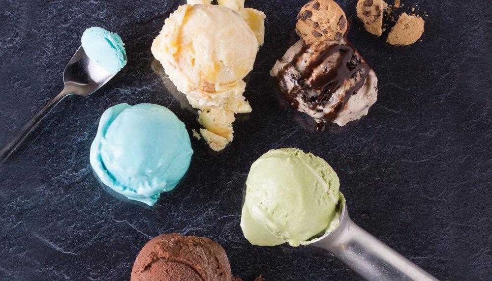 Image Credit:Alex Crook  I SCREAM, YOU SCREAM: Clockwise from top left: Full Tilt's Blue Moon; Sweet Lo's lemon bar; Cloud Nine Creamery's Cookie Monster; Salt & Straw's matcha green tea; Frankie & Jo's chocolate date