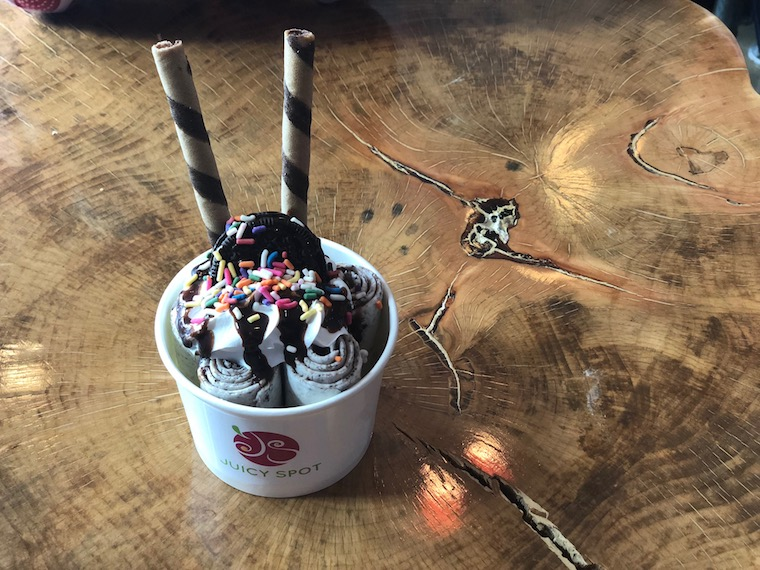 Image Credit: Chelsea Lin  The cookies and cream sundae, made with a style of rolled ice cream out of Thailand