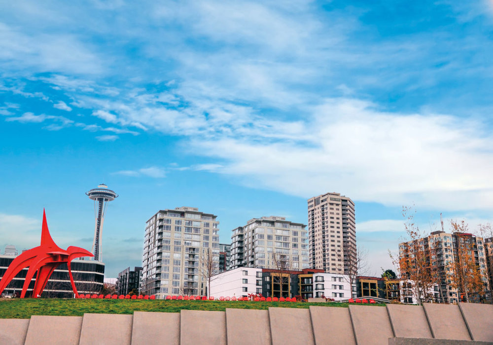 The Olympic Sculpture Park, near Belltown's many midrise residences.  IMAGE:  SHUTTERSTOCK BY KEROCHAN