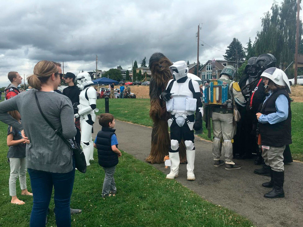 Star Wars characters meet local families in the KidZone at Heritage Park during Kirkland Summerfest. Katie Metzger/staff photo
